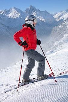 Skifahren auf einer Skireise